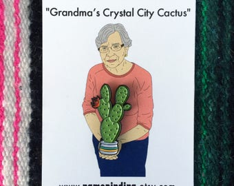 Grandma's Crystal City Cactus, the enamel pin
