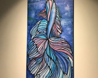 Fighting Blue Fish - Large Framed original painting on canvas, acrylic paint