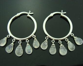 Rainbow Moonstone Hoops 925 Sterling Silver Earrings