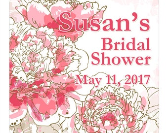 Personalized Bridal Shower Labels Pink Peony Watercolor Flowers Square Glossy Designer Stickers