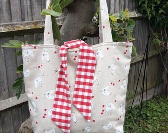 Large reversable tote bag
