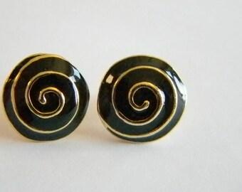 Gold Tone Black Enamel Pierced Earrings