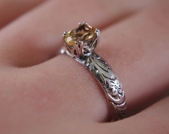 Floral citrine ring, sterling silver size 7