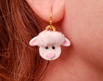 Sheepy Earrings with Gold Plated Hooks, Fluffy Polyester Fur,  3D Printed Hand Painted with Acrylic Paints