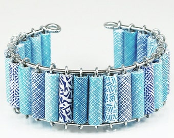 Paper Bead Jewelry- Upcycled Blue Security Envelope Cuff Bracelet, Recycled Junk Mail Paper Jewelry, Modern Jewelry, Contemporary Jewelry