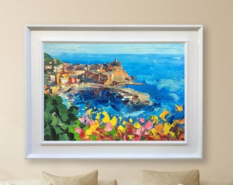 Vernazza Cinque Terre Italy Art Seascape Painting on Canvas Italy Painting Sea Painting Wall Art Canvas Large Original Oil Gifts for Women