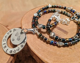 Jeep Girl adjustable beaded necklace with a fantastic hand stamped layered pendant Shimmer iridescent seed beads too