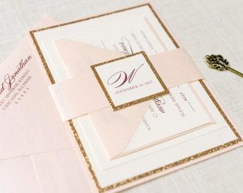 Rose Gold Glitter, Blush and Ivory Wedding Invitation and RSVP Card Suite - Elegant, Glam, Formal - The Darling Suite