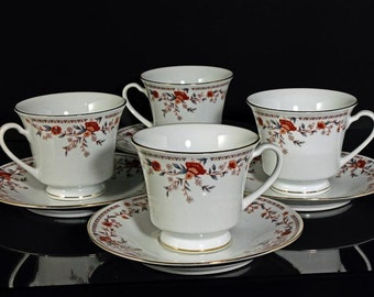 Teacups and Saucers China Garden Imperial Pattern Set of 4