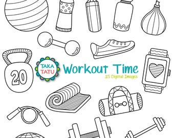 Workout Time Digital Stamp Pack - Black and White / Gym Clipart / Gym Stamps / Workout Clipart / Exercise / Diet / Health Clipart / Workout