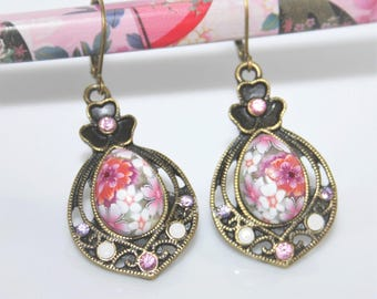 Earrings * rhinestone Cabochon polymer * pink-white-purple
