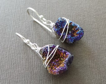 Raw Druzy Titanium Nugget Earrings Purple Lavender Blue Wire Wrapped
