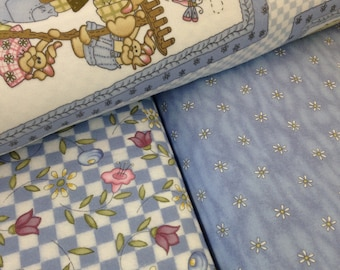Bunny Rabbit, dragonfly, FLANNEL, flowers, tenderberry stitches, Easter bunny,  Baby Quilt Panel, Cotton 40x35 panel, also available on pink
