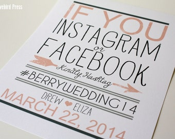 If you Instagram or Facebook Sign - Printable - Hashtag Wedding Sign - Custom Color - PDF - DIY - AA4