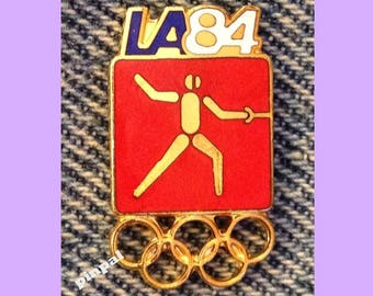 Fencing Olympic Pin ~ 1984 Los Angeles ~ LA ~ Red ~ Pictogram ~ Cloisonné ~ small size version