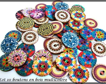 Lot 10 wooden round buttons flat 2 holes 25mm multicolor blue green red purple yellow pink