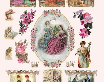 Victorian Women and Fashion Digital Collage Sheet - Instant Download - Vintage Roses - Ornate Romantic Antique Images - Download - Printable
