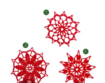 Christmas Ornament. Set of 3 Christmas Handmade Large Snowflakes. Xmas Decor