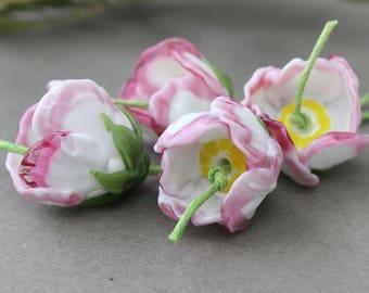 Lampwork Flower Beads, 1 pc Lampwork Glass Flower, Floral Lampwork Beads, Glass Flower Beads, Lampwork Flower, Glass Flower