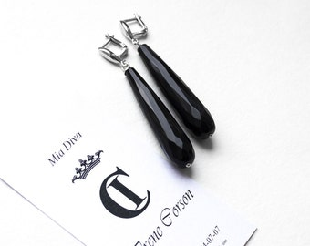 """Long earrings with black agate and sterling silver """"Silent cinema"""""""