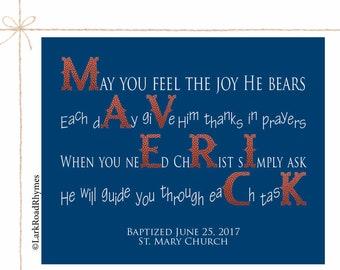 Boy Baptism Gift Personalized Christening Gifts For Boys Christian Nursery Decor Gift From Godparents Keepsake Baptism Poem 8x10 Maverick