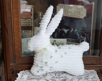 Vintage Chenille Bedspread Bunny Rabbit pillow White Green Toy