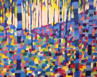 "Colorful Art Print - ""Birch Trees"" - Sunlit Birch Tree Forest - Abstract Pixel Gouache Painting"