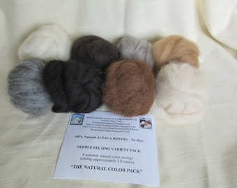 2.0 oz. 100% Alpaca Carded Roving Needle Felting Variety Pack