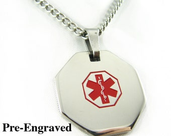 Pre-Engraved DIALYSIS Medical Alert Necklace, Stainless Steel, P1