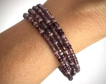 Coil Glass Bead Bracelet in Beautiful Purples/Seed Bead Bracelet
