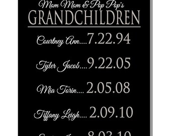 Our GrandKids personalized canvas wall art, for grandparents, from all of us, Christmas or Hanukkah Gift for Grandparents