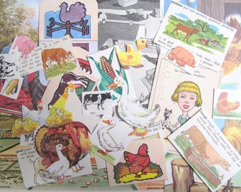 On the farm paper craft kit: 30 pieces of vintage ephemera including die cuts, pictures. Pack for scrapbook, collage, journaling EP958