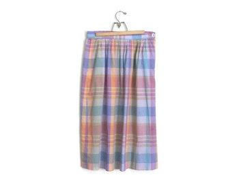Vintage 80s Pendelton Pastel Plaid High Waist Skirt