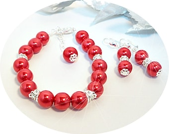 Red Jewelry Set, Apple Red, Bridesmaid Jewelry, Holiday Jewelry, Bright Red Jewelry, Pearl and Rhinestone, Bridal Accessories, Red Wedding