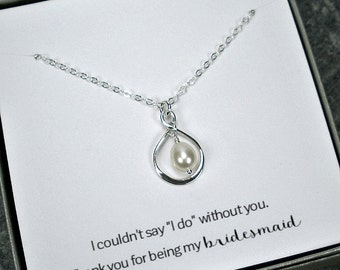 Pearl Bridesmaid Necklace Jewelry Set - Wedding Party Gifts Bridesmaid Thank You Card SET of 3 to 8 Sterling Silver Infinity Made in USA