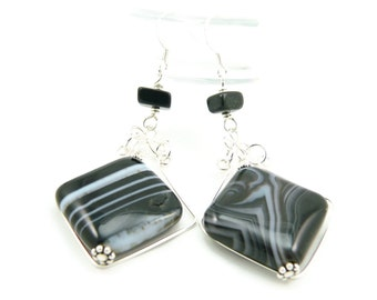 Black Onyx Gemstone and Sterling Silver Wire Wrapped Dangle Earrings - Vintage Inspired - Long Dangles - Artisan Jewelry