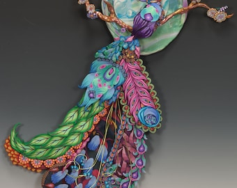 Plume to the Moon- Polymer Clay wall sculpture- Special Order Only
