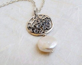 Love Pendant with Coin Pearl Sterling Silver Necklace