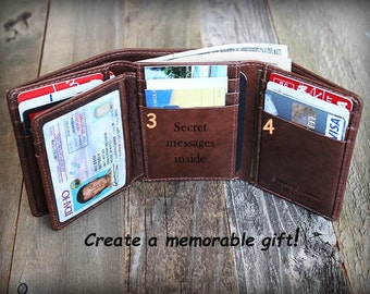 Personalized Mens Wallet - Trifold Mens Wallet - Leather Wallet - Father Day Gift - RFID Wallet - Gift for Dad - Leather Mens Wallet-Tof7133