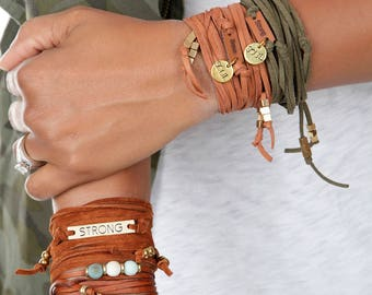 Leather Wrap | Suede Bracelet | Armband or Headband | Leather Bracelet Wrap  | Personalized Color | Gifts for Women | Gifts for Her