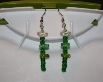 Glass Flower Stem Earrings