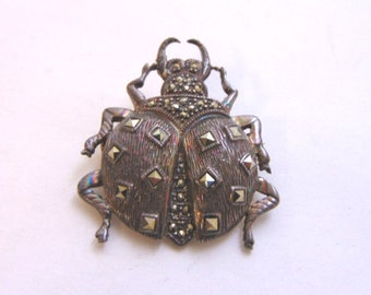 Womens Vintage Estate .925 Sterling Silver Beetle Bug Insect Brooch 11.1g E1503