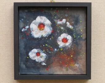 White flower acrylic original painting