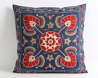 Blue suzani pillow, navy blue pillow cover, pillow cover, decorative pillow, throw pillow, eclectic home decor, toss pillow, sofa pillow