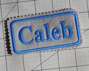 Custom Felt Iron-on Name patch, 4x2 inches, Jagged edging, name label,  Monogrammed Personalised name tag, embroidered name patch F2