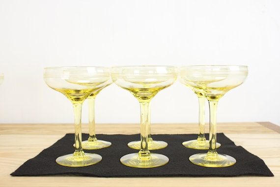 Vintage - Mid Century - Canary Glass - Crystal - Champagne Coupe - Saucer - Set of 12 - Etched Band Accents - Nonradioactive - MCM - 1950's