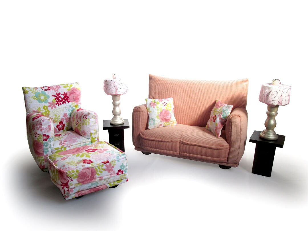 Barbie Doll Living Room Furniture 9-PC Play Set-1:6 scale-Light Pink ...