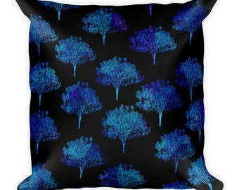 Square Pillow black with blue and purple trees