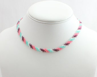 Girls Friendship Necklace - Beaded Children's Jewelry - Seed Bead Chain Necklace - Kids Beadwork Jewelry - Girls Multi Color Necklace