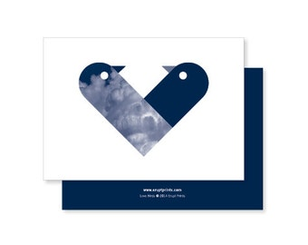 Love Birds Greeting Card - navy blue